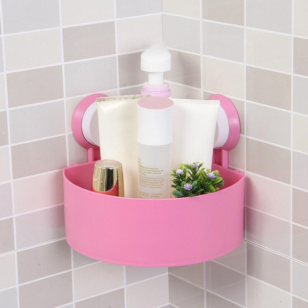 Compia Double Sucker Design Plastic Suction Cup Bathroom Kitchen Corner Storage Rack Organizer Shower Shelf (White)
