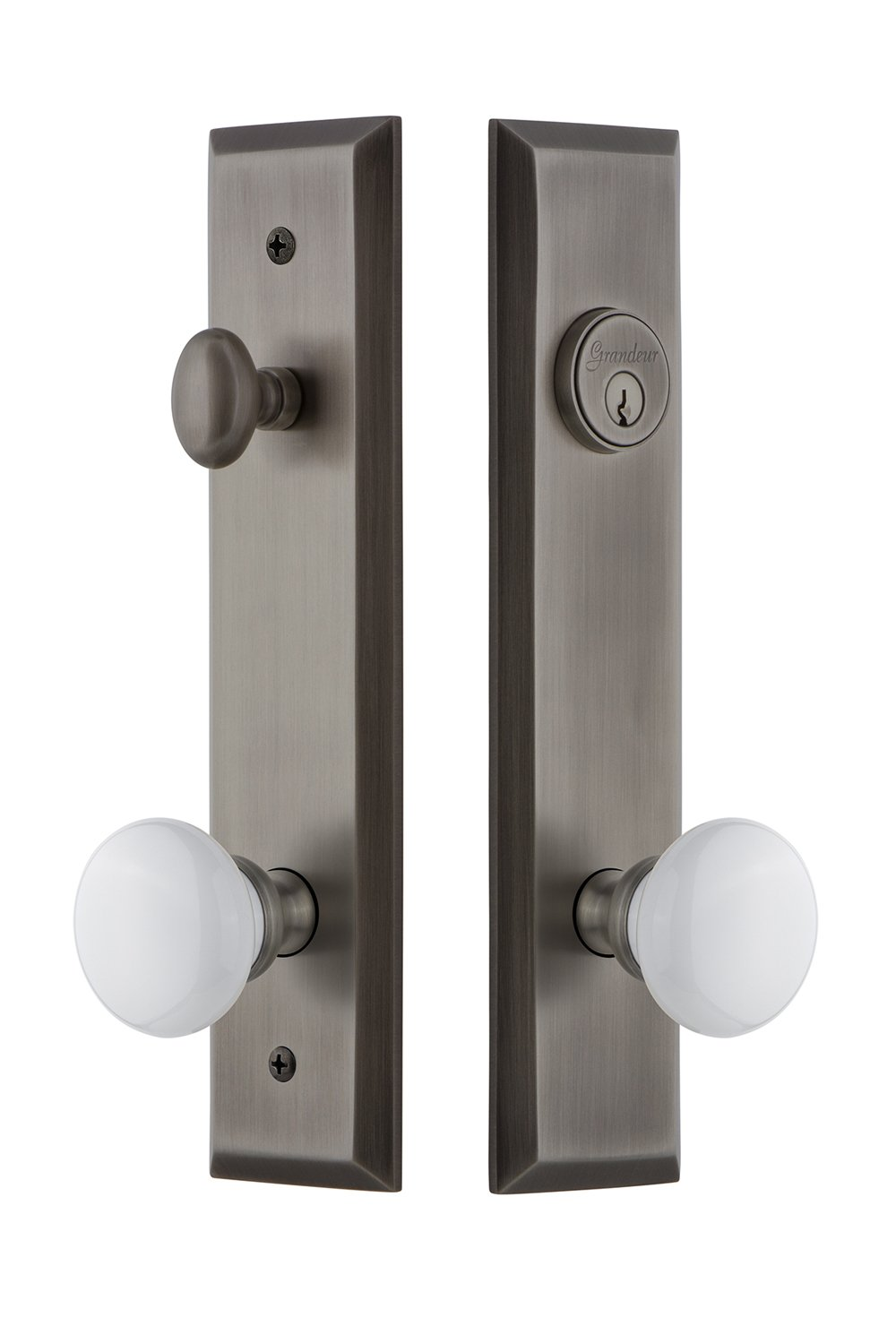 Grandeur Hardware 840835 Fifth Avenue Tall Plate Complete Entry Set with Hyde Park Knob Backset Size Timeless Bronze 2.75