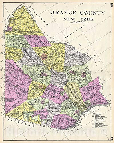 Historic Map - Century Map of Orange County, New York, 1912 - Historical Antique Vintage Decor Poster Wall Art - 24in x 30in