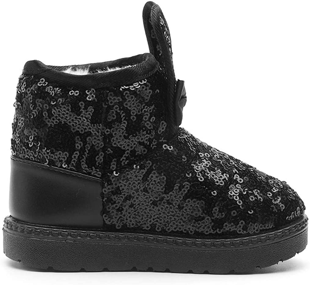 DADAWEN Boys Girls Warm Winter Sequin Waterpoof Outdoor Snow Boots