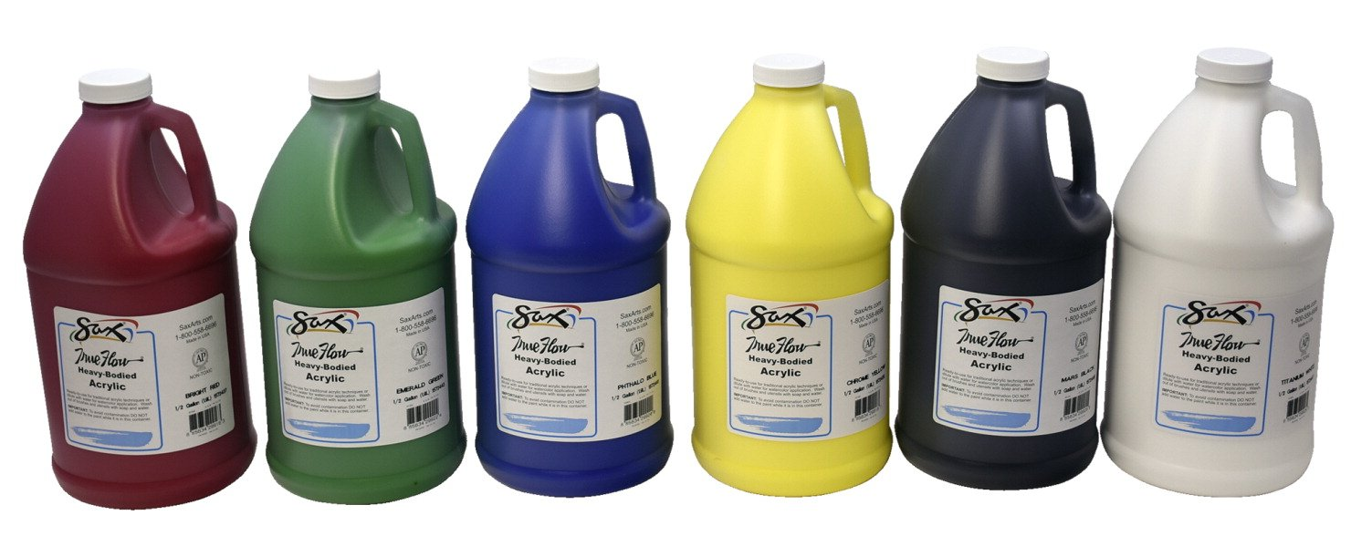 Sax True Flow Heavy Body Acrylic Paint, Assorted Colors, Half Gallons, Set of 6