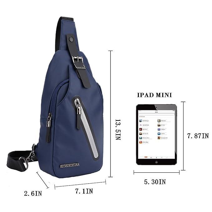 37a0c5bc179f Amazon.com  Stuo Men s Sling Bag Headphone Port Waterproof Crossbody  Shoulder Bag Outdoor Cycling Messenger Chest Bag Blue  Computers    Accessories