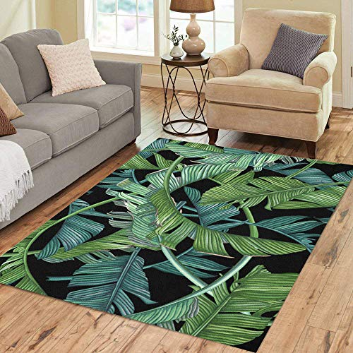 Pinbeam Area Rug Green Pattern Tropical Palm Leaves on Dark Banana Home Decor Floor Rug 5' x 7' Carpet