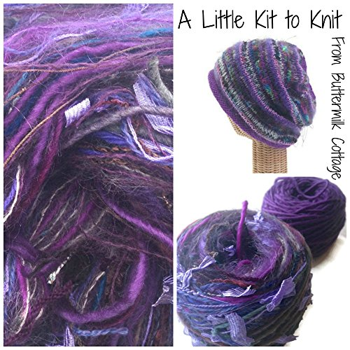 Boutique Yarn Slouchy Hat Knitting Kit Purple by Buttermilk Cottage