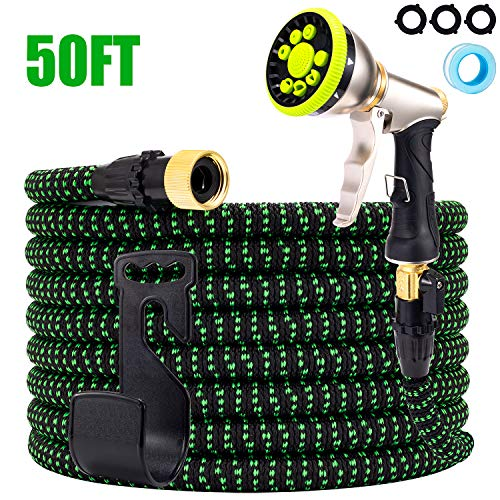 YOJULY Garden Hose-50ft Garden Hose Expandable, Leakproof Lightweight Garden Water Hose-No Kink Tangle-Free Pocket Water Hose, High Pressure Water Spray Nozzle (50FT)