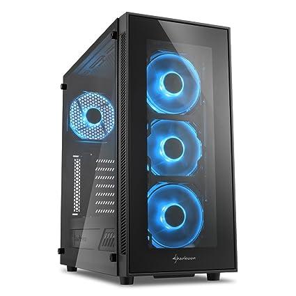 Sharkoon TG5 - Caja de Ordenador, PC Gaming, Semitorre ATX, Negro/Azul
