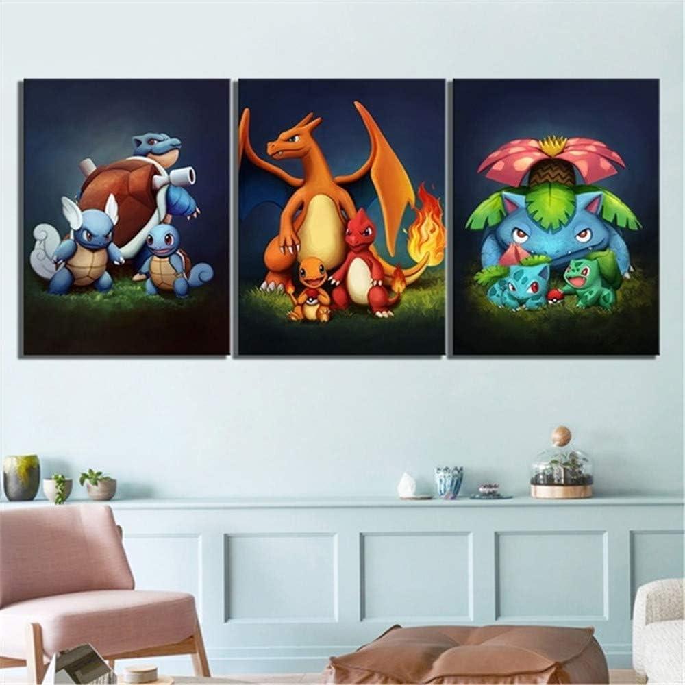 IFUNEW Blastoise Charmander Bulbasaur Pocket Monster Pokemon Anime,Wall Art Home Wall Decorations for Bedroom Living Room Oil Paintings Canvas Prints-990 (Framed,12x18inchx3)