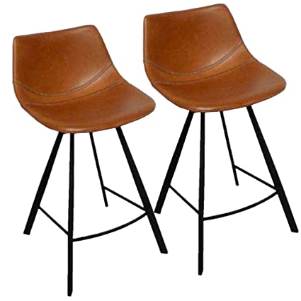Amazoncom 34 Inch Faux Leather Baseball Bar Stool Set Of 2