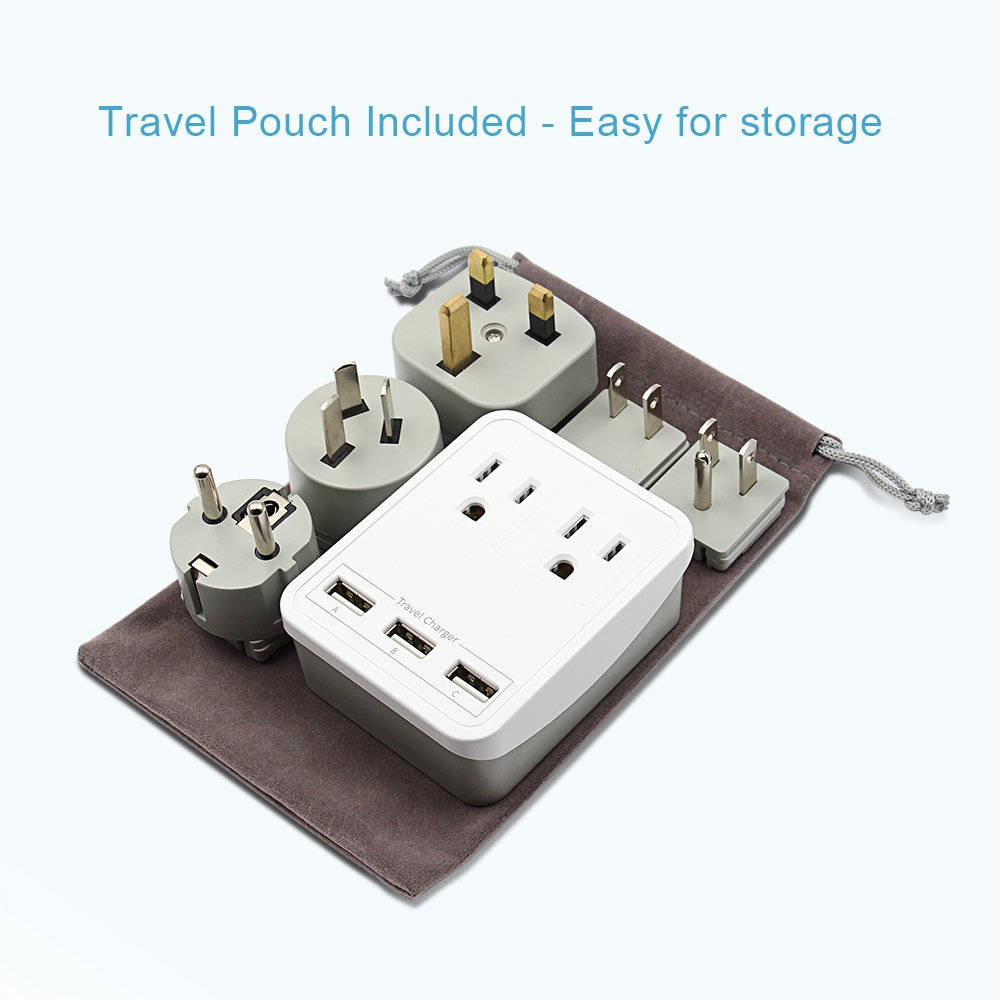 World Travel Adapter Charger Kit - 3 USB + 2 US Outlets, Includes Plugs for Europe, UK, China, Australia, Japan - Perfect for Laptop, Cell Phones and more