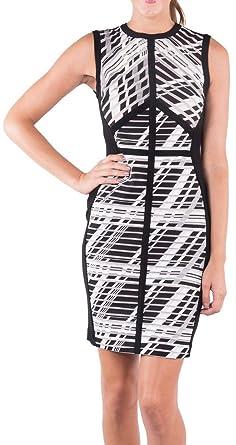 Joseph Ribkoff Black, Grey & White Striped Sleeveless Dress Style 163892 - Size 6
