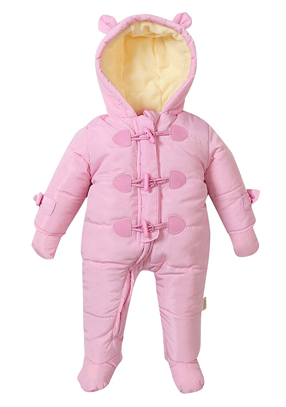 Happy Cherry Unisex Baby Kids Jumpsuit Infants Winter Hooded Snowsuit