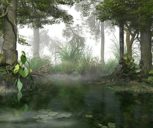 (Mist Swamp Photography Backdrop Foggy Forest Trees Lake Water Nature Scene Photo Background Studio Booth Shoot Props 10x8)