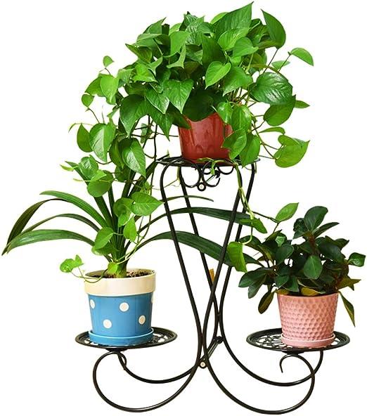 Haunen Soporte Macetas Plantas Metálico, Estantería Decorativas de Plantas Flores para Decoración Exterior Interior Jardín con 3 cestas, 57 x 60 x 23cm: Amazon.es: Jardín