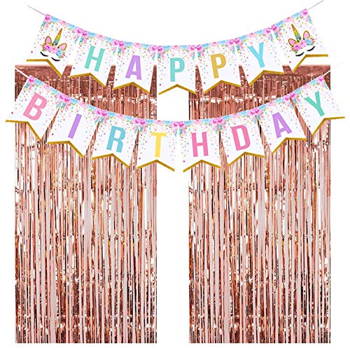 Unicorn Party Decorations, Unicorn Party Supplies Kit, Unicorn Birthday Party Supplies, Unicorn Themed Party Favors Happy Birthday Banner, 2pcs Rose Gold Metallic Tinsel Foil Fringe Curtains -