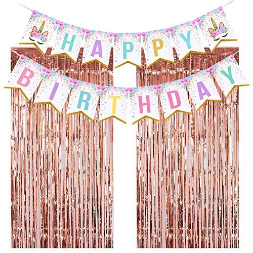 Metallic Happy Birthday Banner - Unicorn Party Decorations, Unicorn Party Supplies Kit, Unicorn Birthday Party Supplies, Unicorn Themed Party Favors Happy Birthday Banner, 2pcs Rose Gold Metallic Tinsel Foil Fringe Curtains
