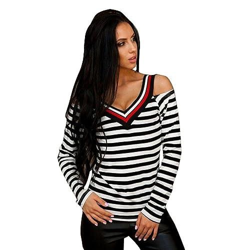 Mujer camisa de manga larga, Yannerr ocio moda v-cuello raya impresa de blusa tops de hombro