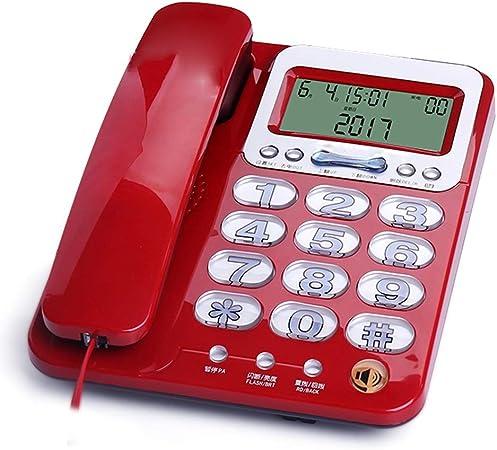 Lxrzls Teléfono con Cable for Personas de la Tercera Edad, teléfono Fijo, teléfono de la Oficina en casa, teléfono Fijo, botón Grande Luminoso, Tono de Llamada Grande (Color : Red): Amazon.es: Hogar