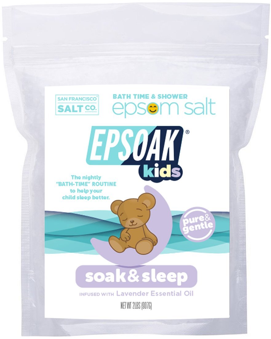 Epsoak Kids - Soak & Sleep Epsom Salt Bath Soak for Kids (2lb Bag - Pure & Gentle Formula with Lavender).