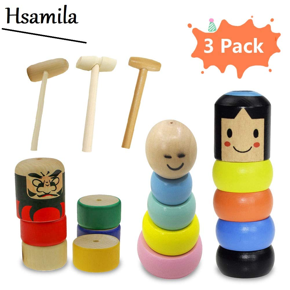 Hsamila Unbreakable Wooden Man Magic Toy, Magic Tricks Funny Toy Immortal Stage Magic Props Funny Wooden Magic Toy Gift for Kids #1+#2+#3 Mixed by Hsamila