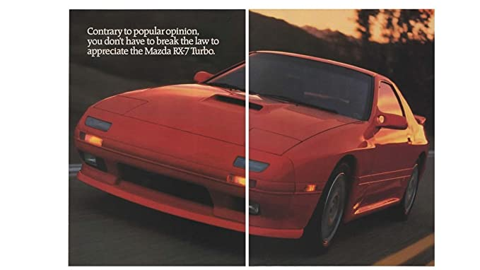 "Magazine Print Ad: Red 1989 Mazda RX-7 Turbo,""Contrary to"