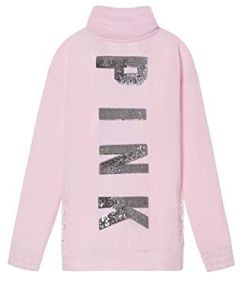 f2554471d18 VS Pink Victoria s Secret Pink Bling Lace Up Quarter Zip Pullover With  Bling Sequins