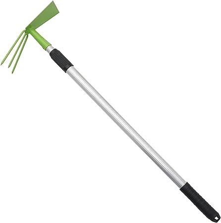 Doppelhäckchen mit Teleskopstiel grün Hacke Gartenhacke Beet Gartenwerkzeug