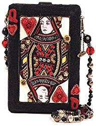 Queen of Hearts Card Beaded Handbag