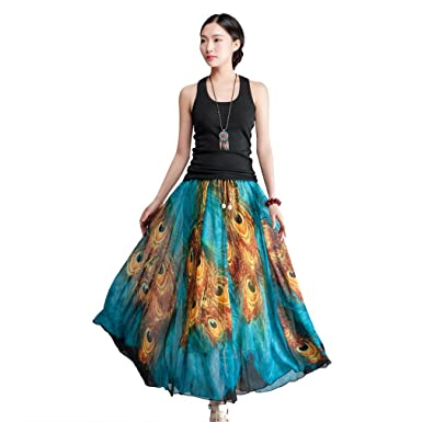f89779499 Image Unavailable. Image not available for. Color: BININBOX Bohemia Peacock  feathers skirts Maxi dress