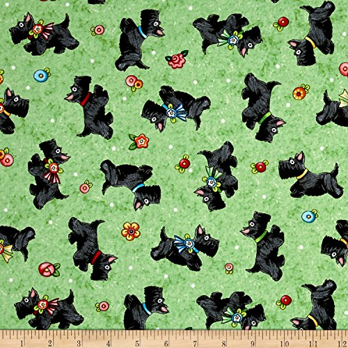 QT Fabrics Mary's Journey Scotties Light Green Fabric by The -