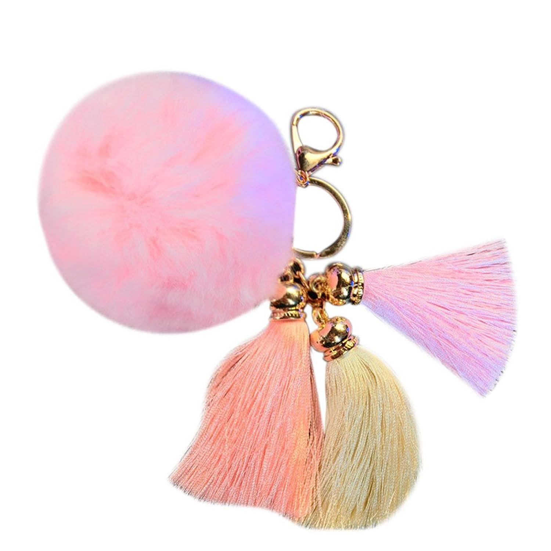 Rabbit Fur Ball Plush Fur Key Chain Pom Pom Keychain Tassel Pompom Car Bag Keychain Key Ring Pendant Jewelry^Pink