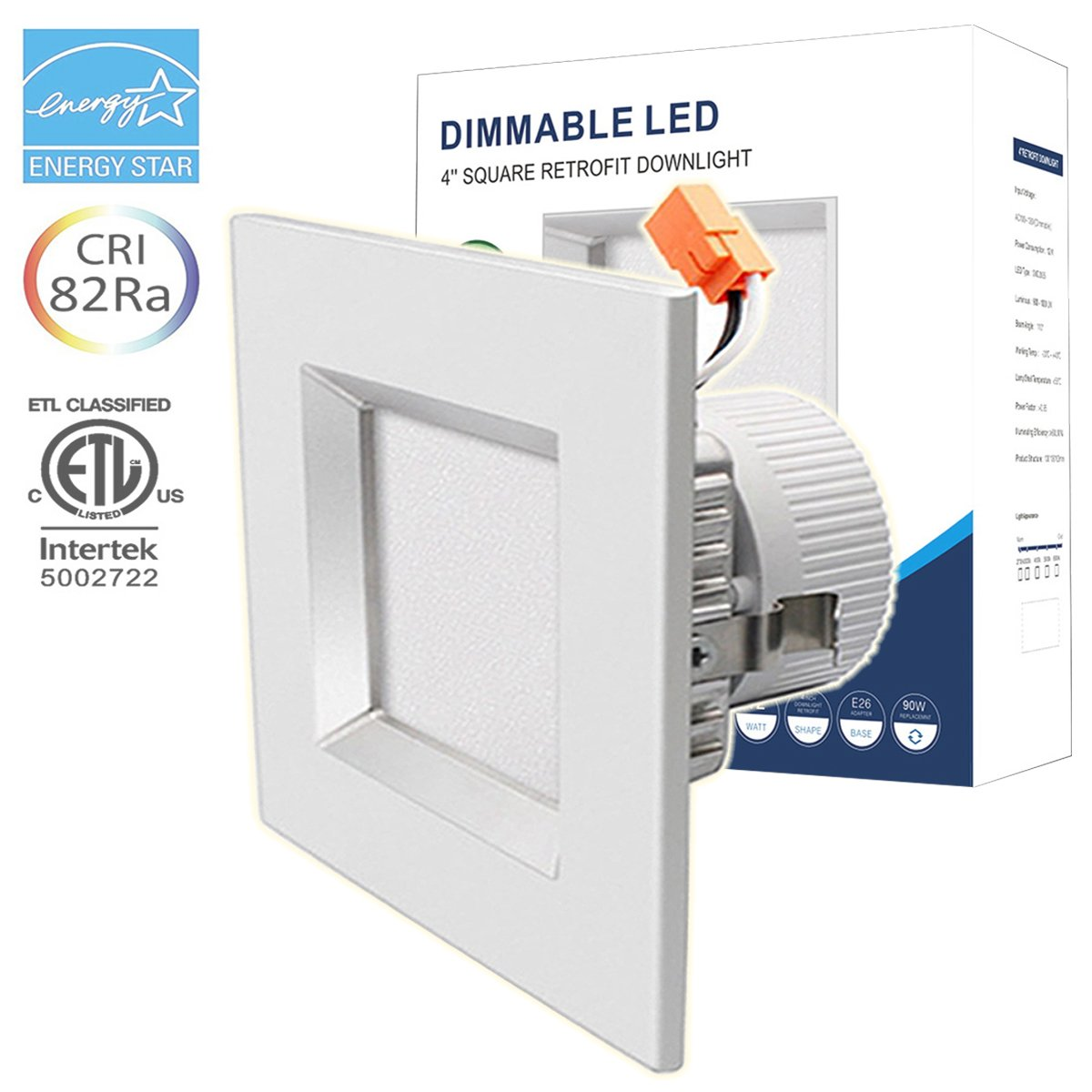 Recessed Lighting Square LED Ceiling Downlight Dimmable Flat Light 4 Inch 12W Retrofit Fixture ELT 3000K Warm White Energy Star Long Lifespan 50000 Hours