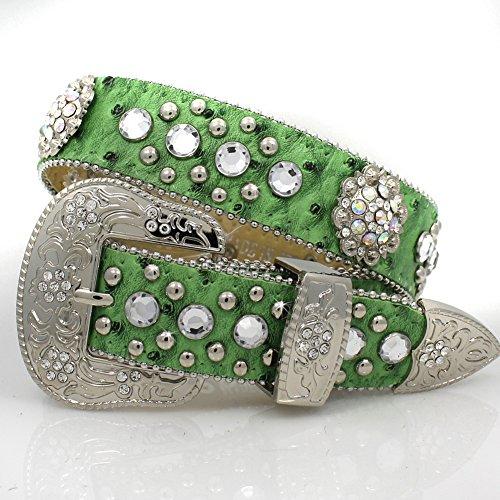 Western Kids Girls Lime Green Crystal Conchos Show Belt