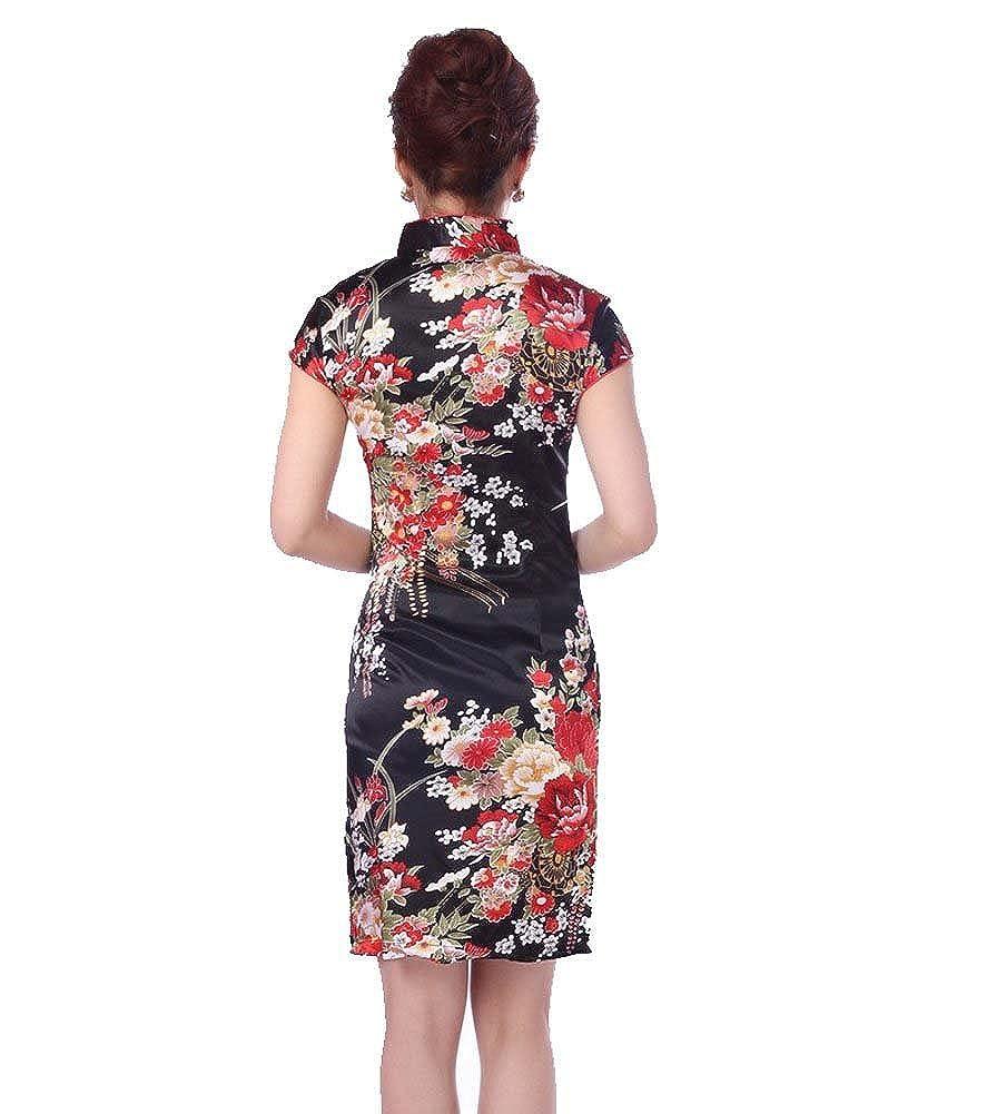 79a15da50 Amazon.com: AvaCostume Women's Gorgeous Floral Wedding Knee Length Qipao  Mini Dress: Clothing
