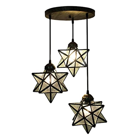 HAIXIANG Crystal Glass Moravian Star Pendant Lamp Ceiling Lighting Chandelier LED Iron Art 3 Lights Round Base Light Fixtures Bedroom Dining Room Living Room Office Restaurant Bar Cafe