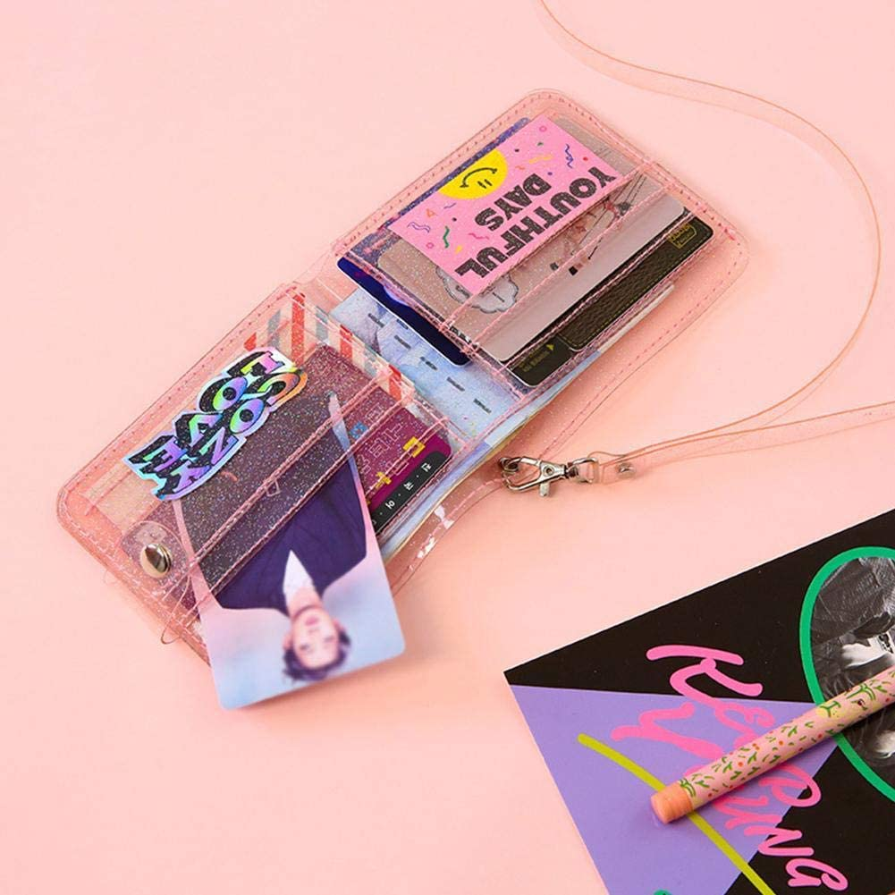 Women Bling Transparent ID Card Wallet PVC Minimalist Slim Folding Lanyard Glitter Credit Card Holder Business Card Purse Clewar Jelly Wallets Girls Gifts