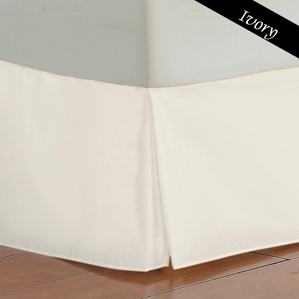 9 Inch Fall 400 Thread Count Both Pattern Solid / Stripe 1 Piece Bed Skirt 100% Egyptian Cotton All Size And Color { Queen , Solid , Ivory}