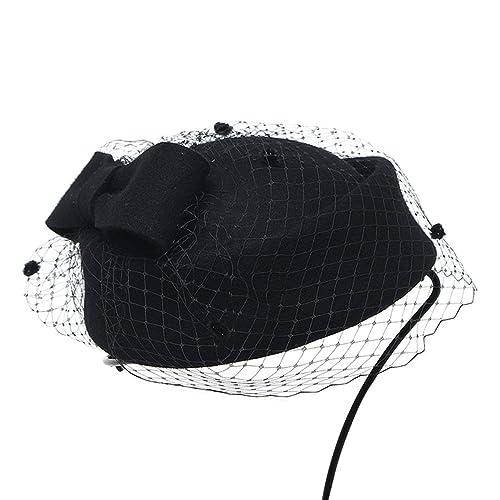 Vbiger Mujer Fascinador Lana Sombrero Fortín Inglaterra Retro Pequeño Sombrero Cóctel Fiesta Boda Ar...