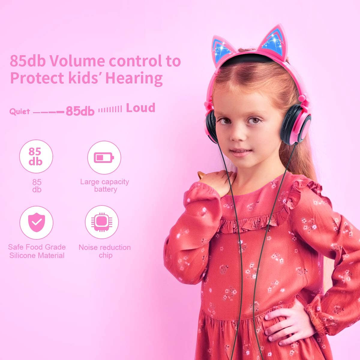 LOBKIN Foldable Wired Over Ear Kids Headphone With Glowing Light For Girls Children Cosplay Fans,Cat Ear Headphones (Pink)