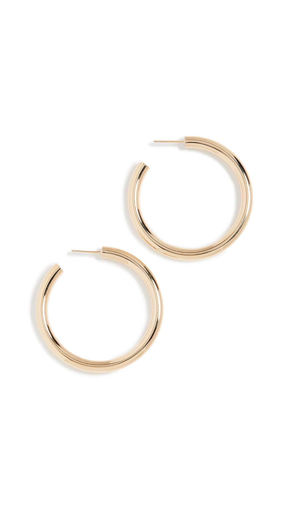 Jennifer Zeuner Jewelry Women's Lou Medium Hoop Earrings, Yellow Vermeil, One Size