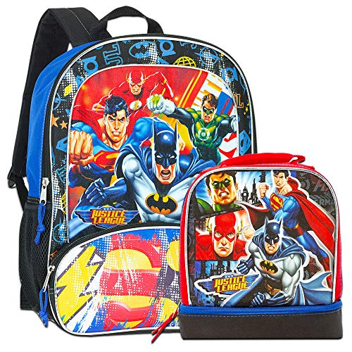 Justice League Backpack with Lunch Box -- Deluxe Backpack with Insulated Lunch Kit (Featuring Batman, Superman, Green Lantern, Flash)