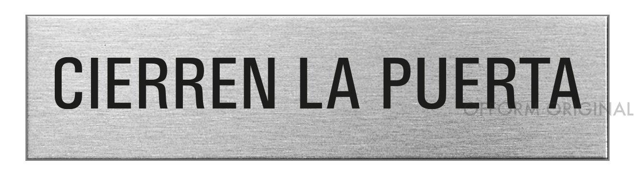 Ofform Placa de puerta l Se/ñal acero inoxidable con textoCierren la Puerta l 160x40 mm l No.8155