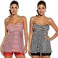 Avidlove Women's Sexy Retro Sailor Stripe Tankini Swimsuit Spaghetti with trunks