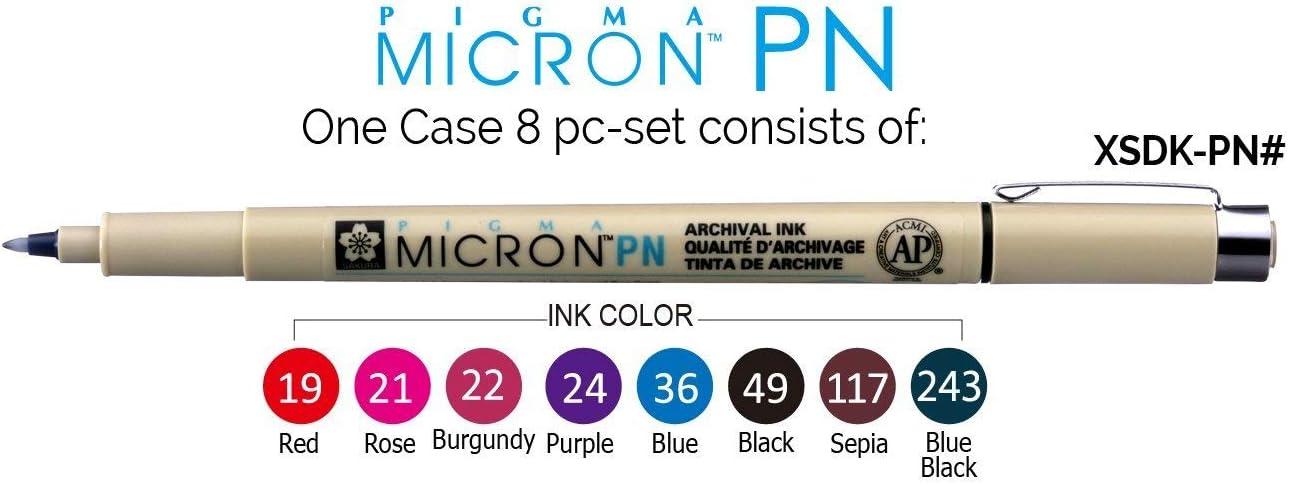 Sakura Pigma Micron PN line Drawing 8 Color pens Set Assorted Colors Bible journaling Study kit
