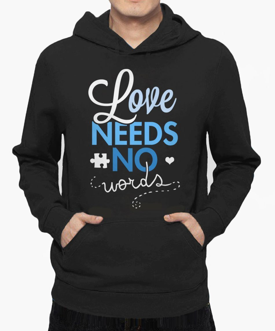 Autism Awareness''Love Needs No Words'' Unisex Pullover Hoodie for Women or Men, Hooded Sweatshirt in Black or Navy with Autism Awareness Month Quote in Blue and Puzzle Piece