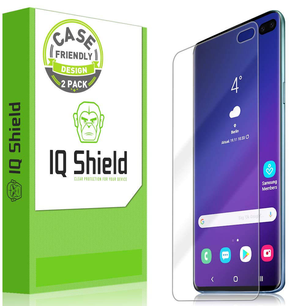 Samsung Galaxy S10 Plus Screen Protector (S10+ 6.4'')[Case Friendly](2-Packs)(Compatible w/Fingerprint ID), IQ Shield LiQuidSkin Full Coverage Screen Protector for Samsung Galaxy S10 Plus HD Clear Film