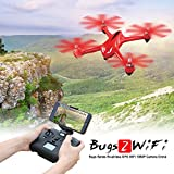 MJX B2W Bugs 2W 2.4G 6-Axis Gyro GPS WiFi FPV Drone Brushless Motor Independent ESC RTF RC Quadcopter with 1080P HD Camera, Red-Hometall