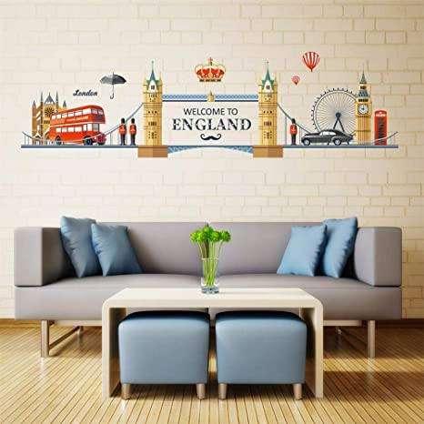 London Skyline 2 Wall Decal Art Sticker kitchen lounge living room bedroom