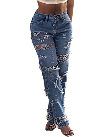Pantalones Vaqueros Rasgados De Cintura Media con Borla De ...