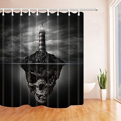 Adarl Happy Halloween Shower Curtain Waterproof Fabric Bath CurtainsSet Of 12 Rings 71x71inch