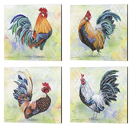 Watercolor Rooster by Jean Plout, 4 Piece Canvas Art Set, 14 X 14 Inches Each, Bird Art - Canvas Rooster Print Set